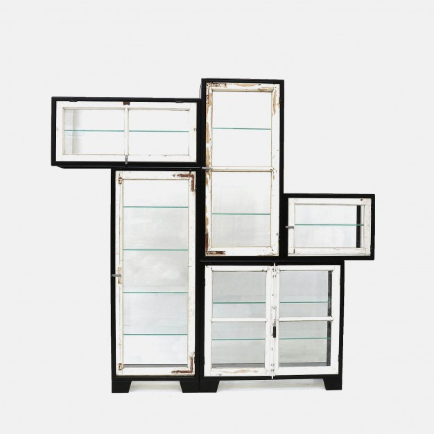 Steel old windows cabinet