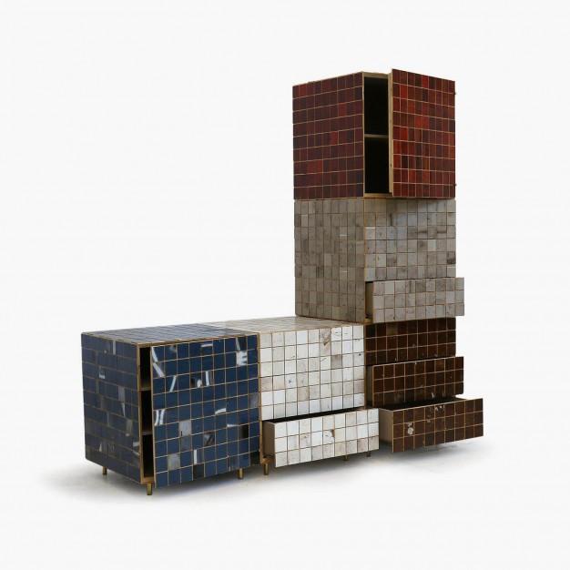 Waste Tile Cube Cabinet