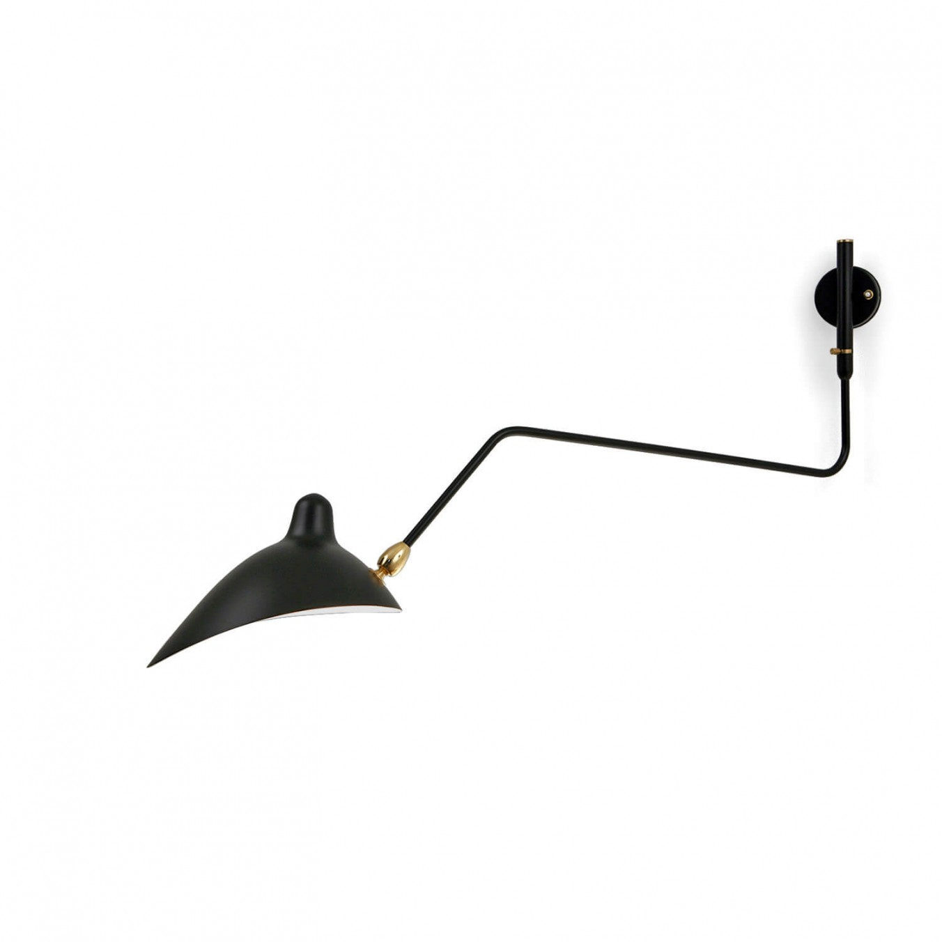 Wall Light with 1 curved pivoting arm