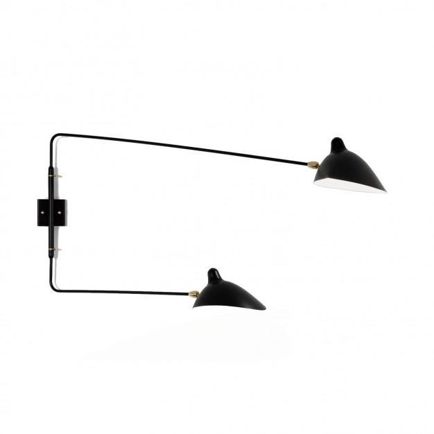 Wall Light with 2 straight pivoting arms