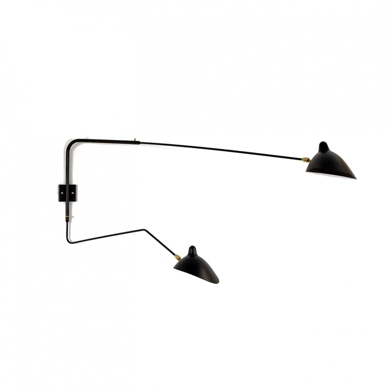Wall Light with 2 pivoting arms, including 1 curved
