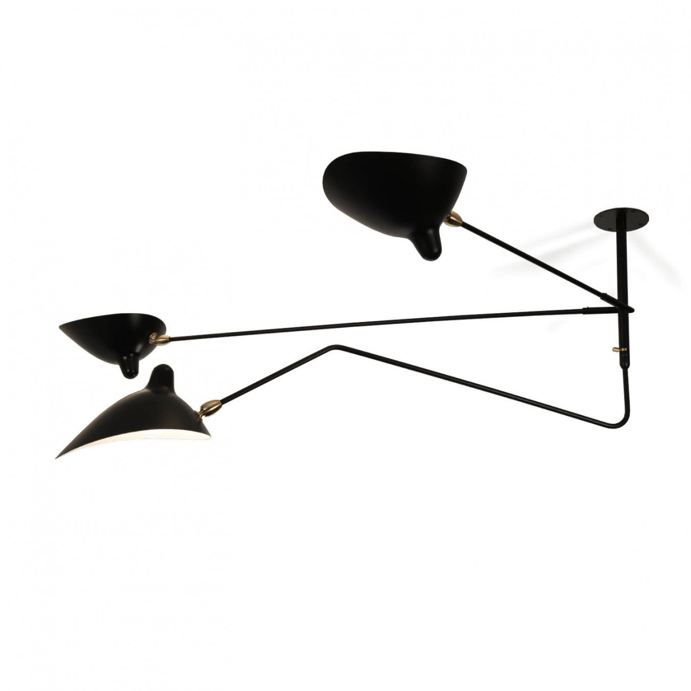 Ceiling Light with 2 still arm and 1 curved