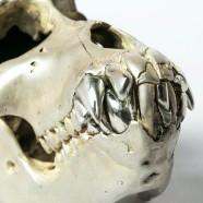 Acid Silver & Polished Sterling Silver Monkey Skull