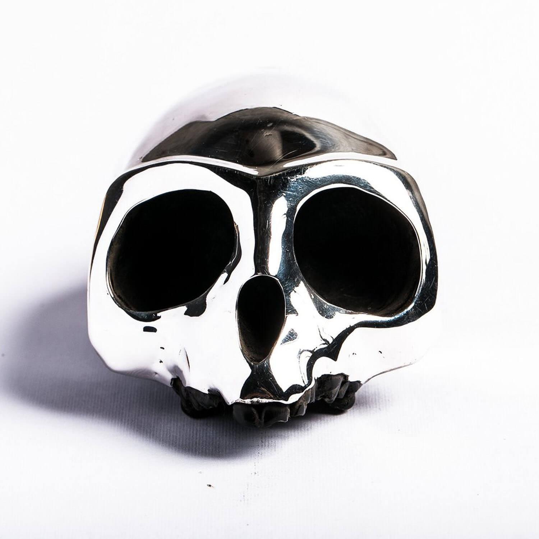 Resin Monkey Skull With Silver Mask Kooku