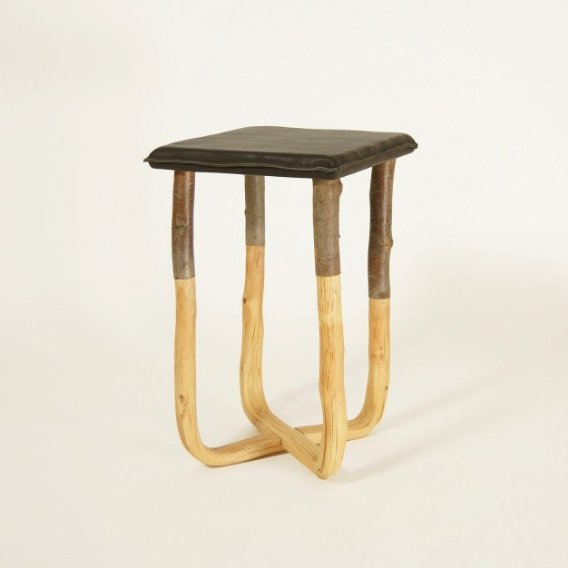 Pressed wood natural stool