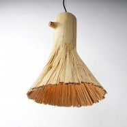 Pressed wood gold pendant light