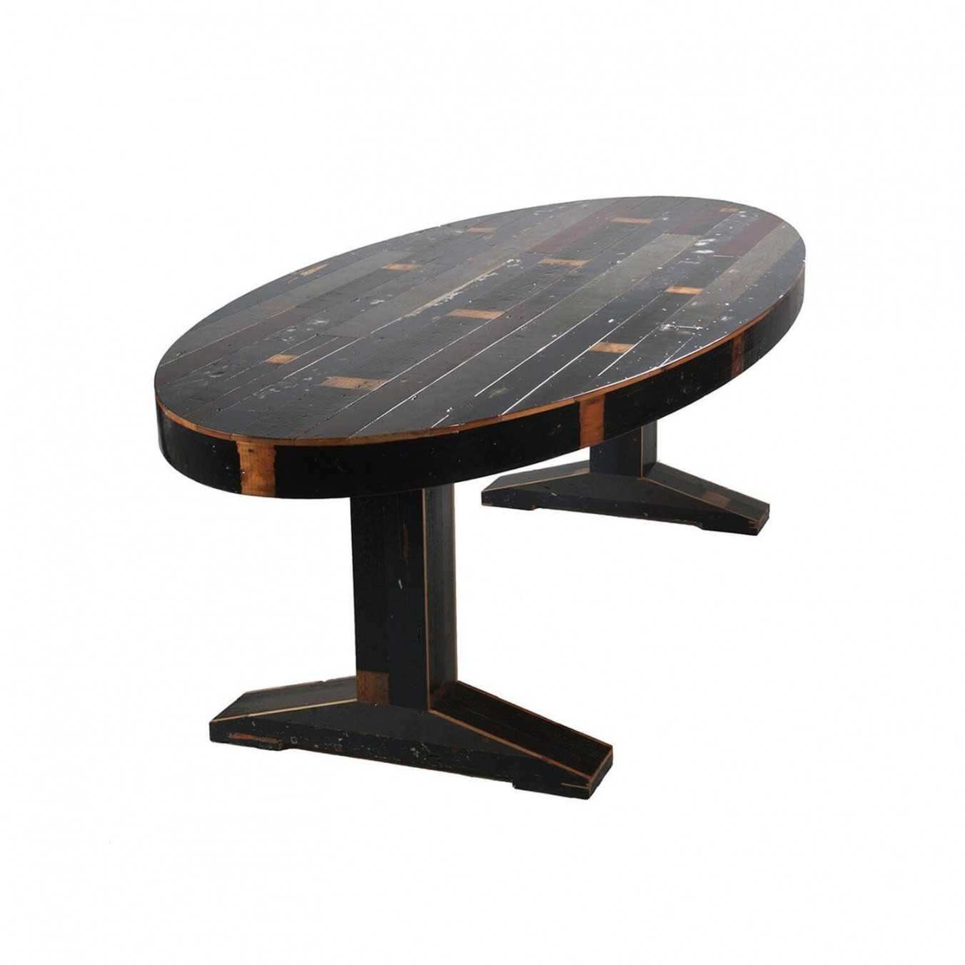 Canteen Table in Scrapwood Oval Fixated